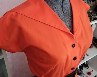 Clean, Vintage, 1960's, McArthur Ltd., Orange, Short Sleeve, Cotton, Dress