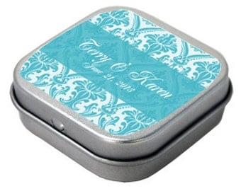 50 Plain Square Silver Small Hinged Tins Empty