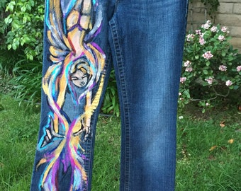 Hand Painted Angel Jeans by Riz22
