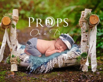 Newborn wooden prop bed - Newborn digital backdrops, Newborn Photography props