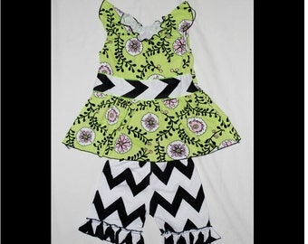 Lime green flower ruffle top and ruffle black white chevron short pants outfit dress set girl toddler