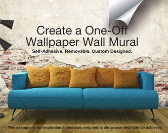 Removable & Self Adhesive Fabric Wallpaper Wall Mural. Absolutely Any Design You Can Think Of!