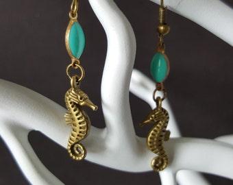 Earrings Bronze & Turquoise Sea Horse