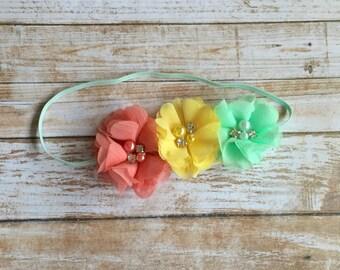 Coral Headband/Coral & Mint Green Headband/Baby Headband/Infant Headband/Baby Girl Headband/Toddler Headband/Children's Headband/Headband