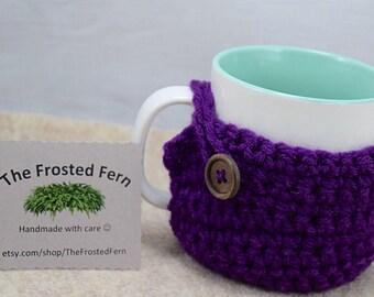 Handmade Coffee Mug Cozy with Coaster Bottom and Adorable Button!