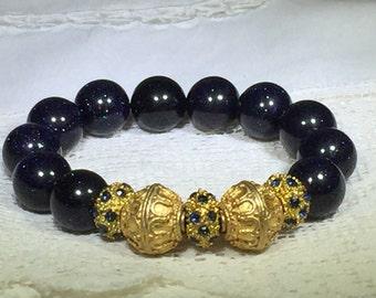 Dark Blue Sparkling Glass Bead Bracelet