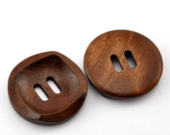 Round Button With Square Detail Concaved Wood Button Two Hole Coffee Colour 30mm