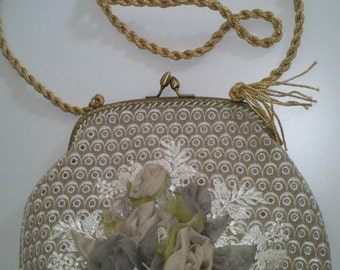 Glamour Style Hanmade Bag/Tache With Silk Flowers