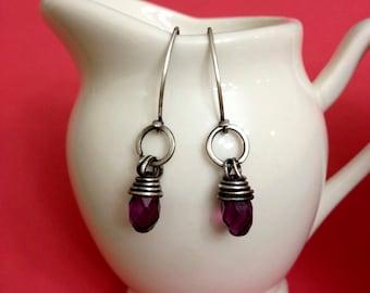 Crystal purple earrings