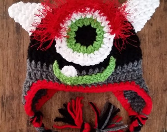 Crochet Monster Beanie with Earflaps Size 0-3 Months