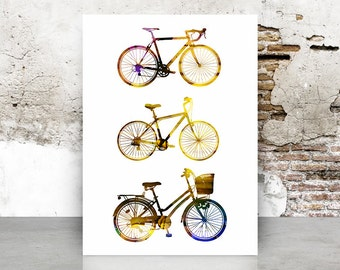 Bicycles Watercolor Poster - Colorful Print - Art Print - Wall Art - Gift Idea