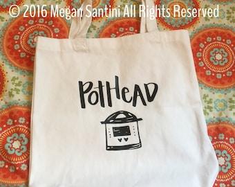 Instant Pot inspired tote, pothead tote, pothead bag, pressure cooker, black, white