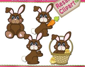 Brown Easter Bunny Digital Instant Download Clip Art