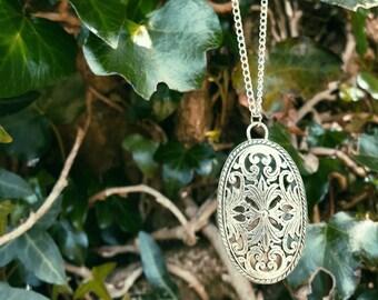 Tibetan Silver Filigree Pendant Necklace