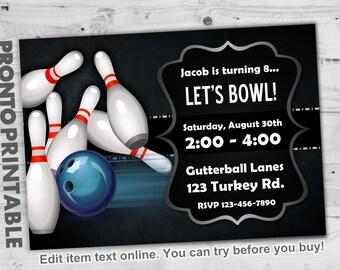 Bowling Party Invitations, Bowling Birthday Party Invitations, Bowling Invitations, Boys Bowling Party Invitations, Bowling Invites