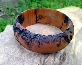 Wood Bangle Bracelet / Fractal / Jewelry / Unique