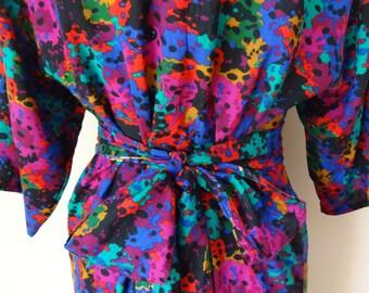 Bright Multi-Color Stylish 1980s Vintage Dress | 1980s Vintage Dress | Waist Tie Summer Dress | Size M UK12-14