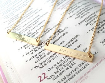 Bible Verse Necklace / Full or Abbreviated Favorite Bible Verse / Christian Necklace/ Good gift for Christmas & All / MSN103