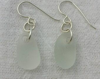 Sweet and Simple Beach Found White Sea Glass Earrings