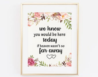 We know you would be here today is heaven wasn't so far away Wedding Memorial Sign Printable Wedding Sign Remembrance Sign Reception Wedding