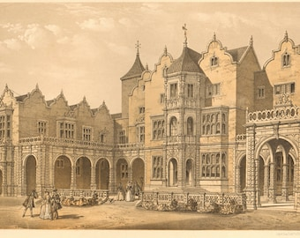 1881 ORIGINAL chromolithograph from Carter Hall's 'The Baronial Halls and Ancient Picturesque Edifices of England', printed in London
