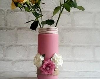 Pink chalk paint vase