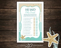 Instant Download Beach Bridal Shower He Said She Said Game, Gold Glitter Aqua Bridal Shower Games, Teal Who Said It Engagement Game 25A