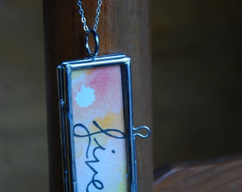 LIVE watercolor locket with sterling silver chain