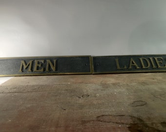 Solid brass ladies and men's toiletry signs