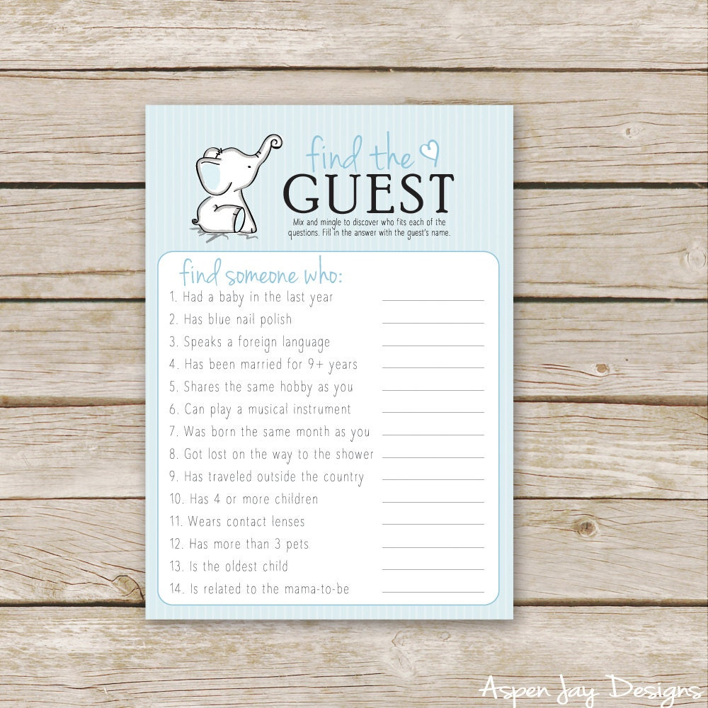 Blue Elephant Baby Shower Find The Guest Game Printable