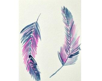 Indigo Feather, Original watercolor painting, simple art, Pink feather, Indigo wall art, Indigo watercolour, pink watercolour, wall art