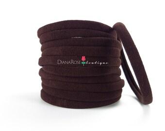 CHOCOLATE Espresso Dark Brown Nylon Headbands Wholesale Baby Headband Nylon Elastic Headbands Bulk Thin Supply