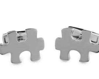 Silver  puzzle piece cufflinks