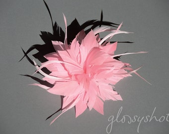 Light Pink Lilly Flower Feather  Fascinator Clip