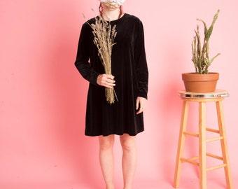 Vintage Velvet Black Dress
