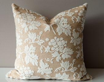 Floral Pillow Cover -Raised Velvet Pillow Cover- 22X22 - Beige Throw Pillow Cover- Floral Throw Pillow Cover- Designer Pillow Cover