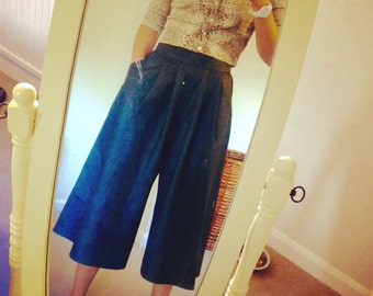 Handmade, denim culottes, chic, pocket detail, on trend
