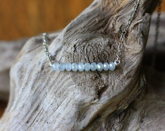 Pale Blue Cut Glass Necklace