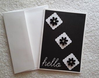 SALE 5×7 Black and White Hello Aĺl occasion Blank inside 3D greeting card - Handmade card - Thinking of you card - Just because card