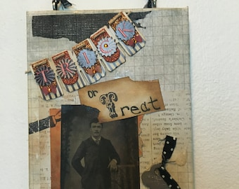 Trick or Treat altered wall hanging