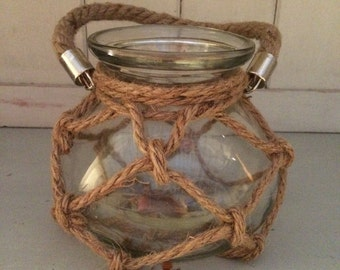 Glass Candle Holder With Rope Effect