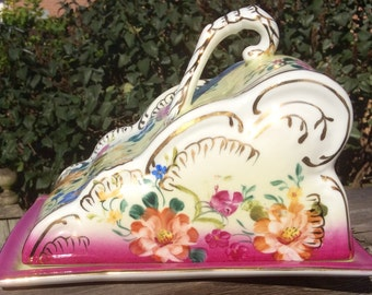 Pretty in Pink-Reproduction Limoges Large Ornate Cheese Keeper