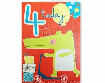 25% off! 4th Birthday - Four Today -  Boy - Happy Birthday - Birthday Card - Birthday Greeting Card - Cute Birthday Card - Lets Go- LG04