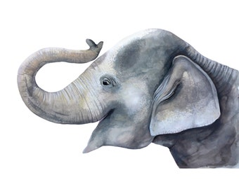 Asian Elephant Baby Print - Watercolour Painting