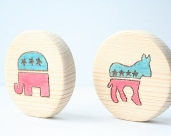Wood Teether | Wood Baby Toy | Teething Block | Wooden Democratic Republican Democratic Baby Toy | Baby Shower Gift | Campaign | Home Decor