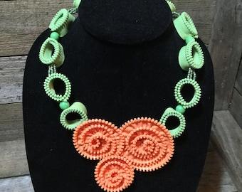 Flower Zipper Necklace - orange