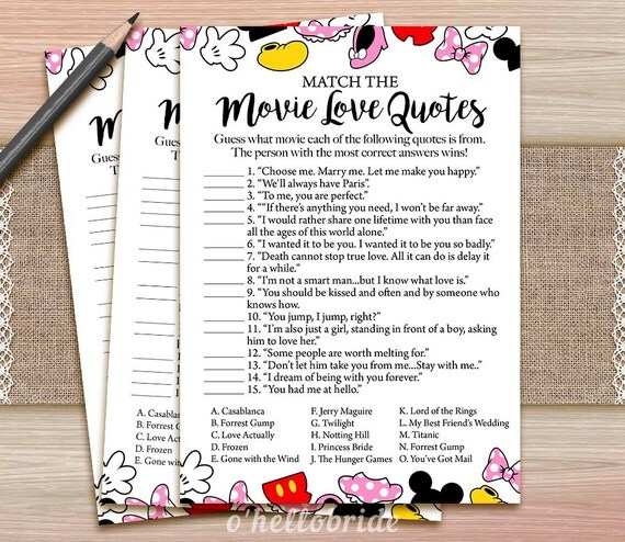 Movie Love Quote Match Game Printable Disney By Ohellobride