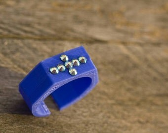 3D printed ring with Bluemarine  Swarowski cristals - choose color and size!