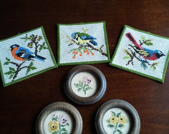 6 Vintage Swedish embroidered wall hangings,wall decor with birds,round framed flower embroidery,cross stitch needlepoint pictures.