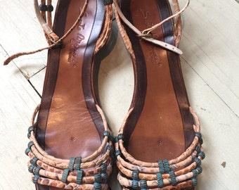 Vtg 70s 80s woven snakeskin leather wedge sandal 8.5 turquoise embellished jewel navajo southwestern exotic